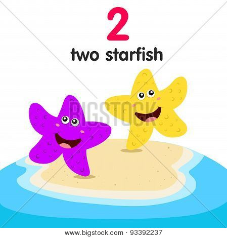 Illustrator of number two starfish