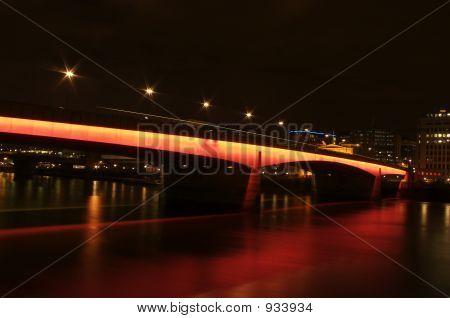 London Bridge Glowing Red