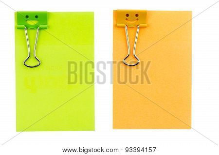 Smile Clip With Note On White Background