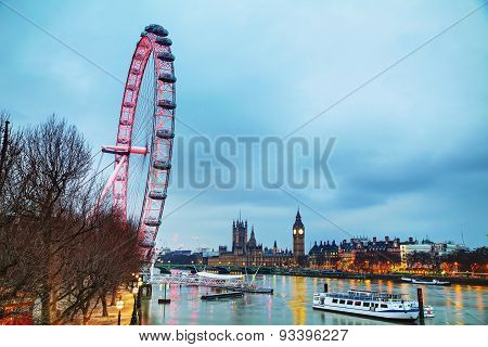 Overview Of London With The Elizabeth Tower And The Coca-cola London Eye
