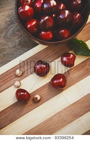 Cherry berries and fruit pits