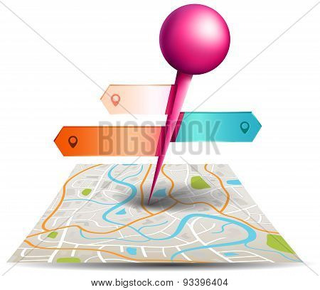 A City Map With Digital Satellite Gps Pin Point With Colorful Badge And Label Tags In White Isolated