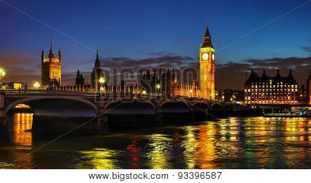 London With The Clock Tower And Houses Of Parliament