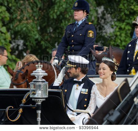 The Swedish Prince Carl-philip Bernadotte And His Wife Waving And Smiling