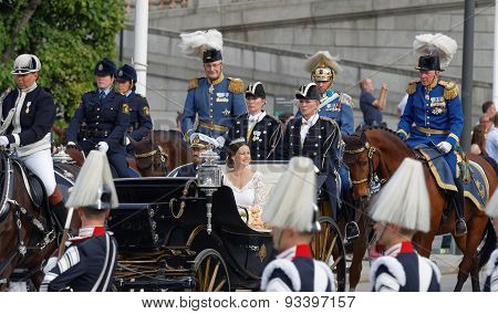 The Royal Coach Carrying The Swedish Prince Carl-philip Bernadotte And His Wife