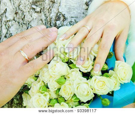 Hands Of Groom And Bride In Wedding Day