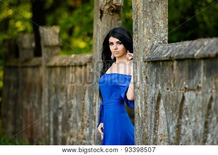 Portrait Of Sensual Fashion Woman In Blue Dress Outdoor