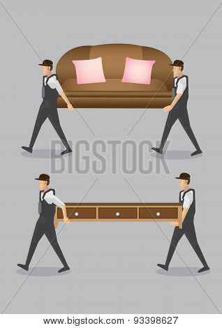 Home Movers Carrying Furniture Vector Cartoon Illustration