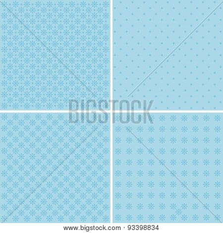 Set Of 4 Background Patterns In Pale Blue