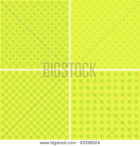 Set Of 4 Background Patterns In Pale Green.