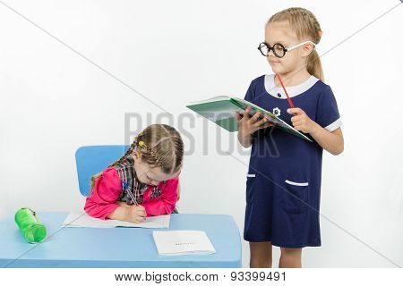 Girl Teacher Reading Assignment Student