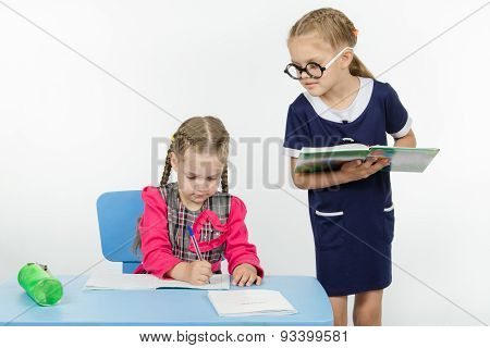 Girl Student Teacher Dictating Dictation