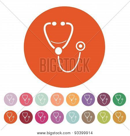 The Phonendoscope Icon. Stethoscope Symbol. Flat