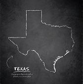 foto of texas map  - Texas map blackboard chalkboard vector template dark - JPG
