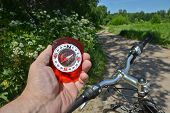 image of compasses  - The compass and the bike - JPG