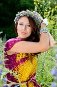 picture of polite girl  - Beautiful girl from Poland with wreath made of flowers - JPG