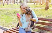pic of yorkshire terrier  - Young smiling girl owner with yorkshire terrier dog sitting in the park - JPG