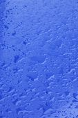 picture of raindrops  - pattern of raindrops on shiny blue surface - JPG