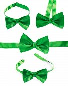picture of foreshortening  - Green bow tie isolated over the white background - JPG