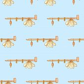 picture of peace-pipe  - Sketch native american pipe in vintage style vectorseamless pattern - JPG