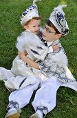 picture of circumcision  - Children wear costumes of a sultan before circumcision in Turkey - JPG