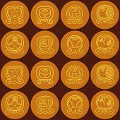 pic of glyphs  - Seamless background with Maya calendar named days and associated glyphs for your design - JPG