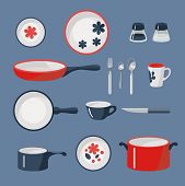 pic of crockery  - Vector set of crockery and kitchen wares - JPG