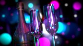 pic of champagne color  - A bottle of Champagne or Wine with Two Glasses with colorful light effects - JPG