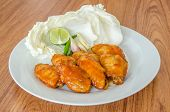 pic of bbq food  - BBQ Chicken Wings on white dish  - JPG
