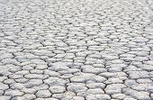 picture of mud  - Closeup Of Dry and Cracked Mud Soil in Racetrack Playa in Death valley National Park in California - JPG