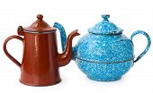 picture of kitchen utensils  - two enameled kettle - JPG