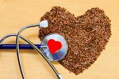foto of flax seed  - Diet healthcare and checkup concept - JPG