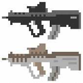 picture of rifle  - illustration vector isolate icon pixel art gun assault rifle - JPG