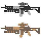 stock photo of rifle  - illustration vector isolate icon pixel art gun assault rifle - JPG