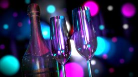 stock photo of champagne color  - A bottle of Champagne or Wine with Two Glasses with colorful light effects - JPG
