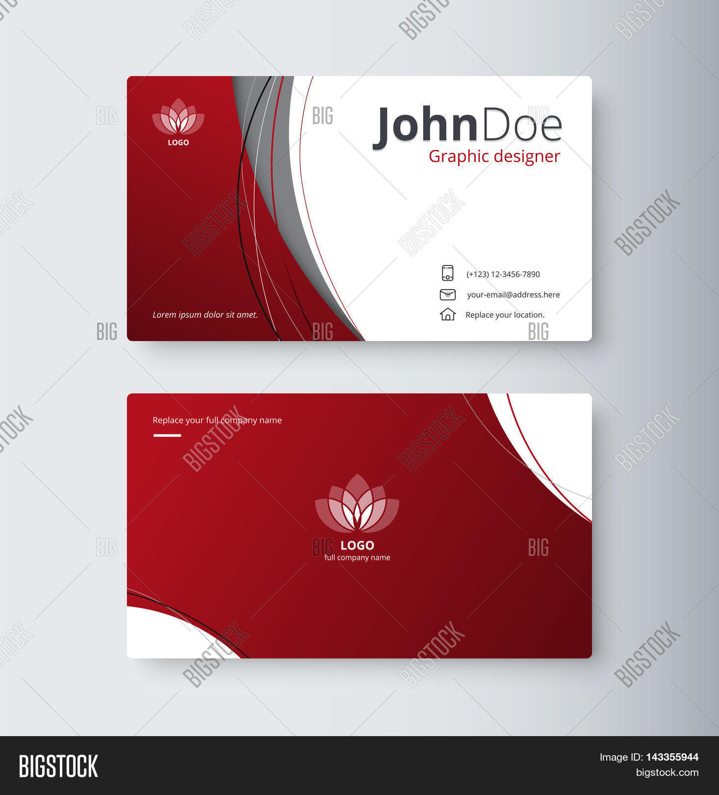 curve abstract business card vector photo
