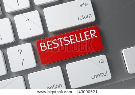 Concept of Bestseller, with Bestseller on Red Enter Keypad on Modern Laptop Keyboard. 3D Illustration.