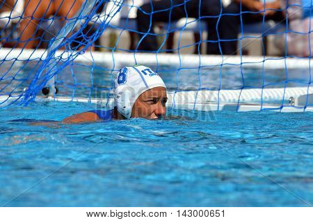 Budapest, Hungary - Jul 16, 2014. Italy's BIANCONI Roberta (ITA, 8) waiting for the referee's beep. The Waterpolo European Championship was held in Alfred Hajos Swimming Centre in 2014.