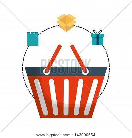 shopping basket box gift bag online payment ecommerce icon. Flat illustration. Vector graphic