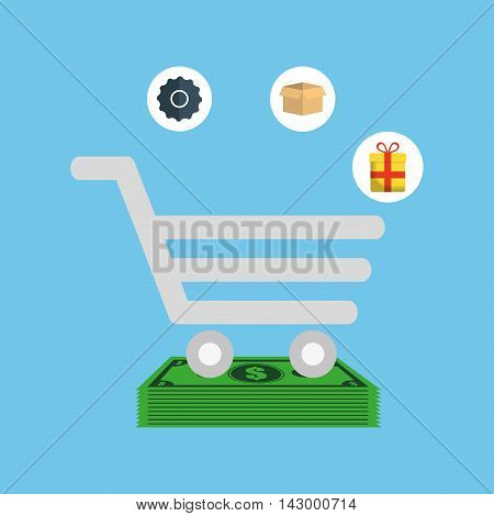 cart gear box gift bills online payment shopping ecommerce icon. Flat illustration. Vector graphic