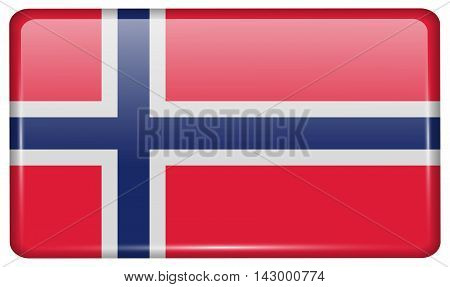 Flags Norway In The Form Of A Magnet On Refrigerator With Reflections Light. Vector