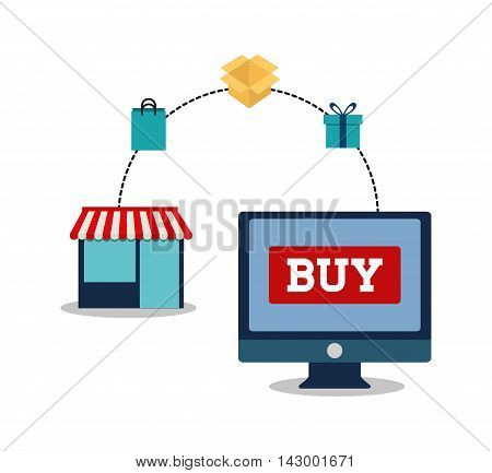 shopping bag box gift computer store online payment ecommerce icon. Flat illustration. Vector graphic