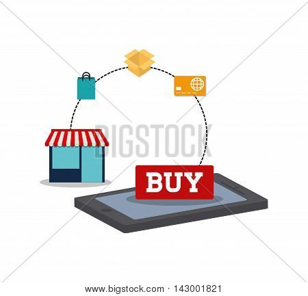 shopping bag credit card smartphone box store online payment ecommerce icon. Flat illustration. Vector graphic