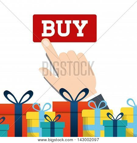 gift hand online payment shopping ecommerce icon. Flat illustration. Vector graphic