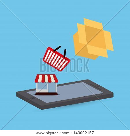shopping basket smartphone store box online payment ecommerce icon. Flat illustration. Vector graphic