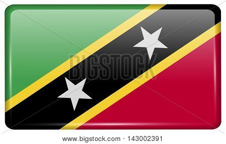 Flags Saint Kitts Nevis In The Form Of A Magnet On Refrigerator With Reflections Light. Vector