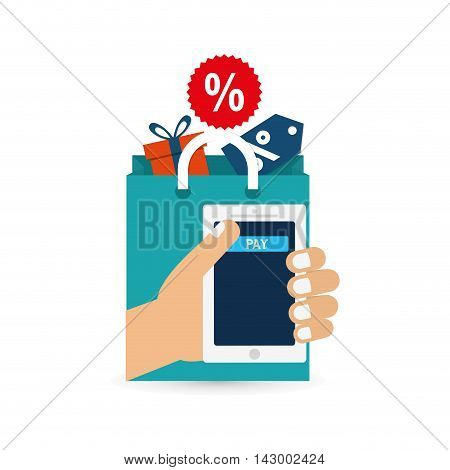 gift hand bag label smartphone online payment shopping ecommerce icon. Flat illustration. Vector graphic