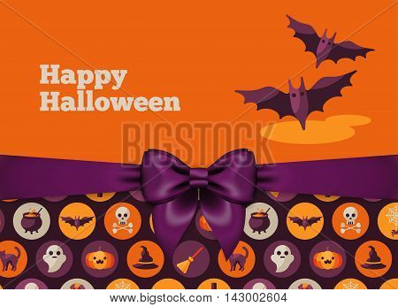 Halloween Postcard Design with Violet Silky Bow Ribbon and Pattern. Vector Illustration. Flying Bat Cute Character.
