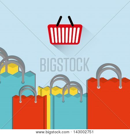 shopping basket bag online payment ecommerce icon. Flat illustration. Vector graphic