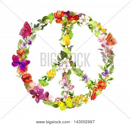 Floral peace sign with flowers for Peace Day. Watercolor